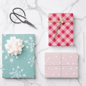 Modern pastel Christmas snow plaid dots pattern Wrapping Paper Sheets