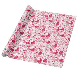 Modern Patterned Love Hearts Valentine's Day Wrapping Paper