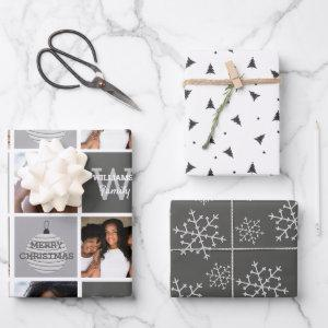 Modern Photo Collage And Silver Snowflakes Wrapping Paper Sheets