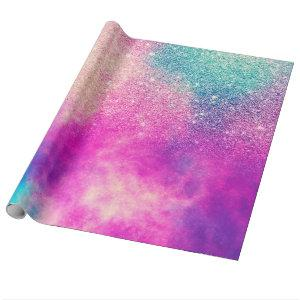 Modern pink blue glitter ombre nebula watercolor wrapping paper