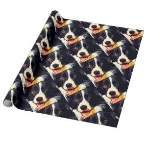 modern purple Border collie Wrapping Paper