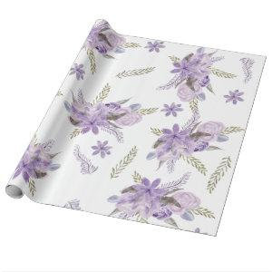 Modern purple lavender green floral watercolor wrapping paper