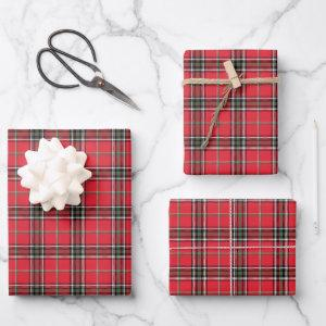 Modern Red Christmas Plaid Tartan Pattern Wrapping Paper Sheets