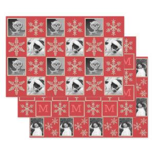 Modern Red Rustic Snowflake Monogram Photo Wrapping Paper Sheets