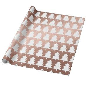 Modern rose gold christmas tree holidays chic wrapping paper