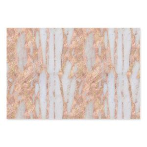 Modern Rose Gold Marble Glitter Foil Wrapping Paper Sheets