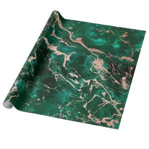 Modern rose gold marble green emerald watercolor wrapping paper