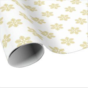 Modern Snowflakes | Gold & White Wrapping Paper