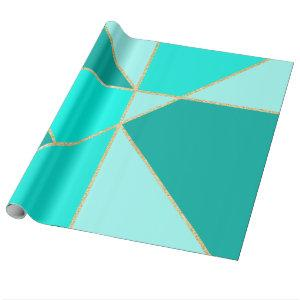 Modern teal triangles  color block gold stripes wrapping paper