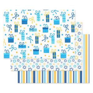 Modern Trendy Hanukkah Wrapping Paper Sheets