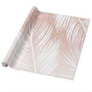 Modern trendy white palm tree leaf pattern on rose wrapping paper