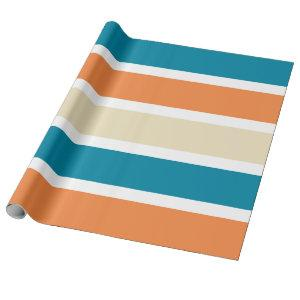 Modern Turquoise Teal Orange Color Block Wrapping Paper