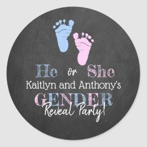 Modern Typography Gender Reveal Party! Baby Shower Classic Round Sticker