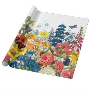 modern vintage flowers wrapping paper