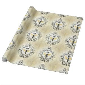Modern vintage french queen bee wrapping paper