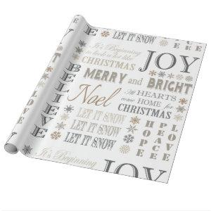 modern vintage holiday phrases wrapping paper