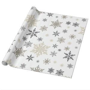 modern vintage snowflakes wrapping paper