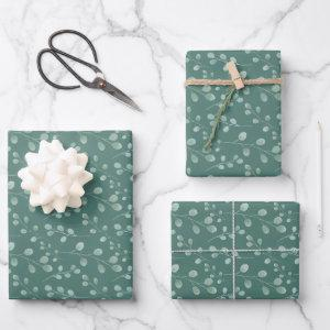 Modern Watercolor Eucalyptus Pattern Green Wrapping Paper Sheets