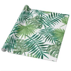 Modern watercolor tropical leaves wrapping paper