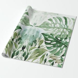 Modern Watercolor Tropical Monstera Leaves Party Wrapping Paper
