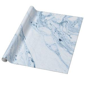 Modern White & Blue-Gray Marble Swirls Wrapping Paper