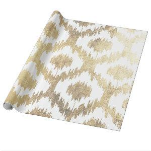 Modern white hand drawn ikat pattern faux gold wrapping paper