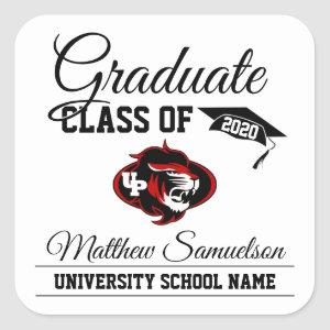 Modern White School GRADUATION | add LOGO Square Sticker