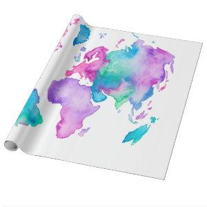 Modern world map globe bright watercolor paint wrapping paper