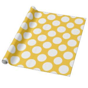 Modern Yellow White Polka Dots Pattern Wrapping Paper