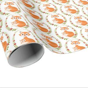 Mommy and baby boy woodland fox wrap wrapping paper