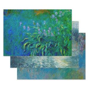 MONET IN BLUE HEAVY WEIGHT DECOUPAGE PRINTS WRAPPING PAPER SHEETS