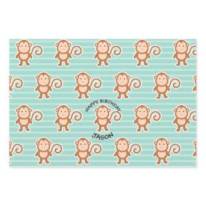 Monkey Stripes Happy Birthday Wrapping Paper Sheets