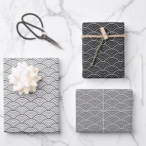 Monochrome Black White Grey Japanese Wave Wrapping Paper Sheets