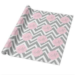Monogram Grey and White Chevron with Pastel Pink Wrapping Paper
