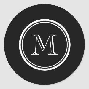 Monogram Initial Black High End Colored Classic Round Sticker