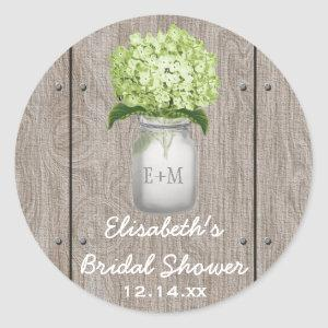 Monogram Mason Jar Green Hydrangea Bridal Shower Classic Round Sticker