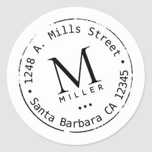 monogram with address classic round sticker