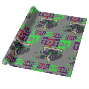 monster truck hard core cool wrapping paper