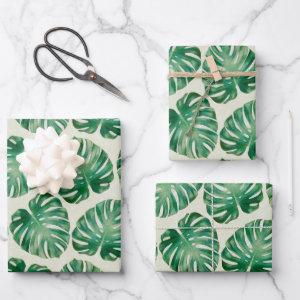 Monstera Leaves Pattern Wrapping Paper Sheets