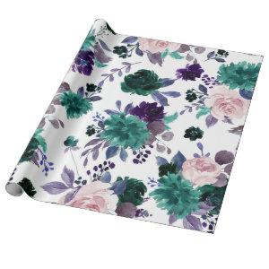 Moody Boho   Eggplant Plum Purple Floral Bouquet Wrapping Paper