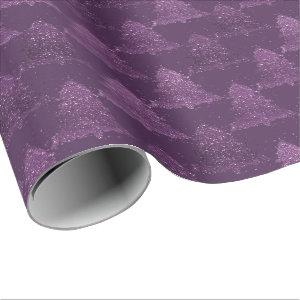 Moody Christmas Trees | Purple Abstract Pattern Wrapping Paper