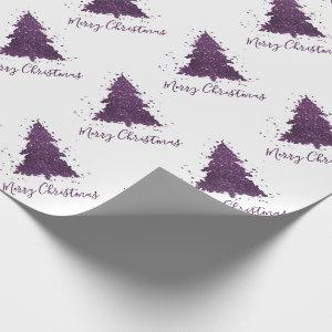 Moody Christmas Trees | Purple Abstract Script Wrapping Paper