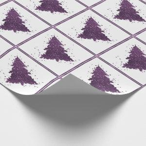 Moody Christmas Trees | Purple Abstract Splatter Wrapping Paper