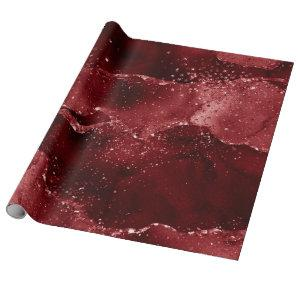 Moody Crimson Agate Dark Blood Red Jewel Tone Wrapping Paper
