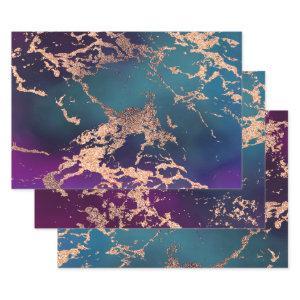 Moody Marble | Deep Luxe Purple Teal Rose Gold Wrapping Paper Sheets