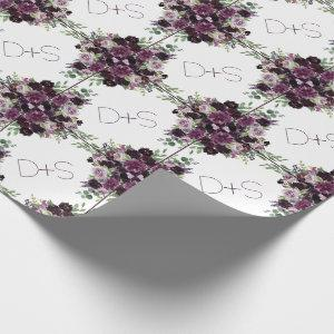 Moody Passion | Dramatic Purple Floral Monogram Wrapping Paper