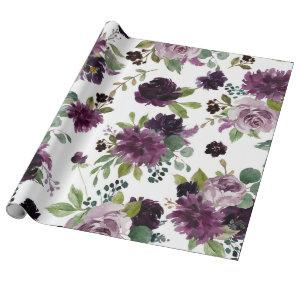Moody Passion   Dramatic Purple Floral Pattern Wrapping Paper