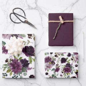 Moody Passion | Dramatic Purple Floral Pattern Wrapping Paper Sheets