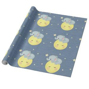 Moon and Stars With Cute Elephant Baby Boy Shower Wrapping Paper