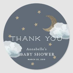 Moon Star Cloud Baby Shower Thank You Sticker